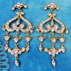 Prom Pageant Bridal Jewelry - Austrian Crystal Gold Chandelier Pageant Earrings